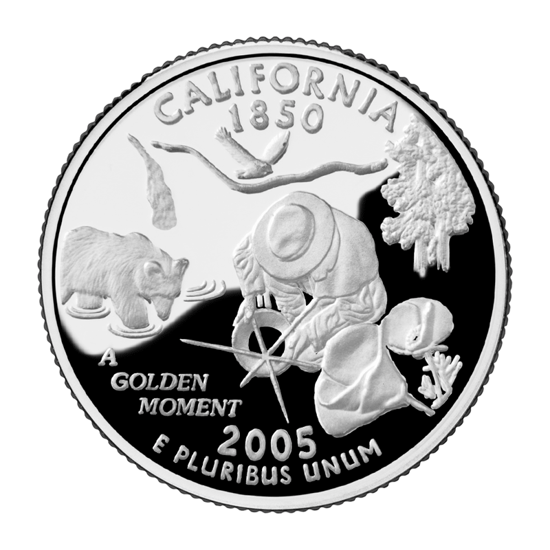 "Privately minted California Quarter, ""A Golden Moment"" by David Biagini, presented in style of US Mint Quarter Illustrations."