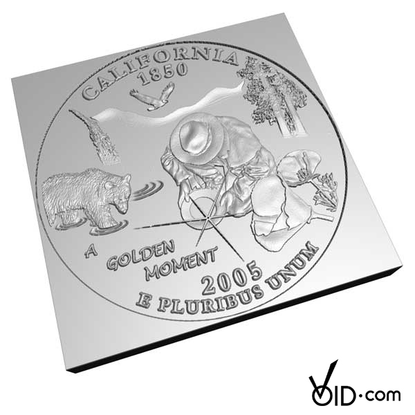3D rendering from original illustration of A Golden Moment submitted for California Quarter by David Biagini.