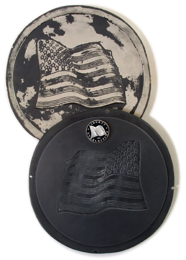 Positive Cast and Negative Die Template used for mintage of 2001 Star Spangled Banner Medallion by David Biagini. Proof Coin resting upon die template.
