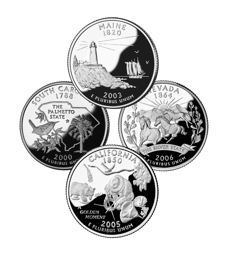 "Collage featuring four State Quarter Designs; Maine, South Carolina, Nevada and privately minted California Quarter, ""A Golden Moment"", the Miracle Quarter by David Biagini. Addresses issue of details in design chosen by People's vote."