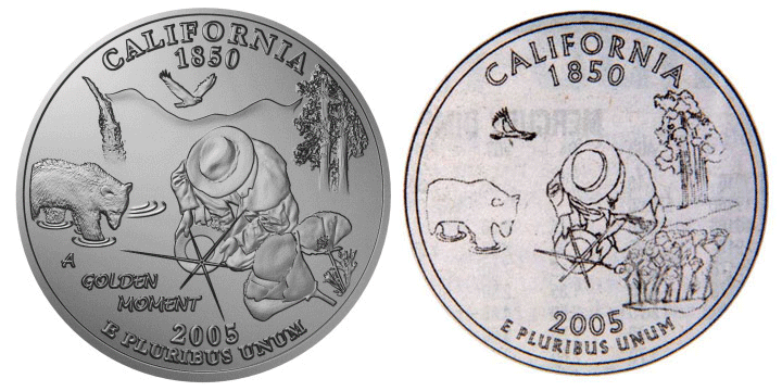 People's First Choice for California Quarter, A Golden Moment, original versus US Mint rendition.