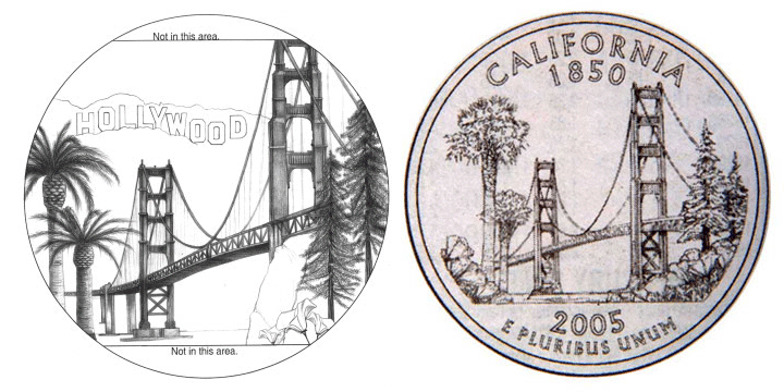People's Second Choice for California Quarter, original versus US Mint rendition.