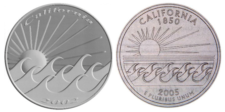 People's Third Choice for California Quarter, original versus US Mint rendition.