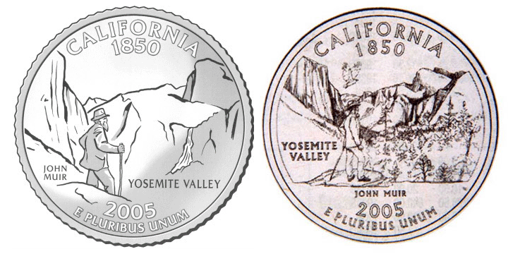 Kevin Starr's First Choice for California Quarter, original versus US Mint rendition.