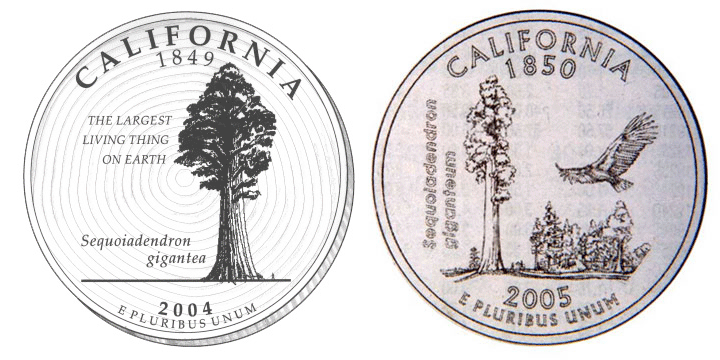 Kevin Starr's Second Choice for California Quarter, original versus US Mint rendition.
